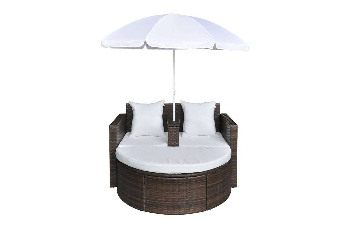 Leżanka ogrodowa z parasolem LOSELI brązowy/biały