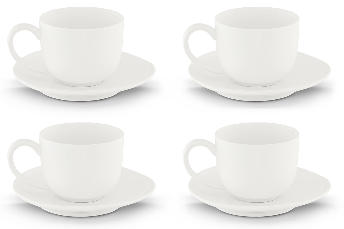 Zestaw filiżanek do kawy, 4 os. (8 el) RESEDA biały